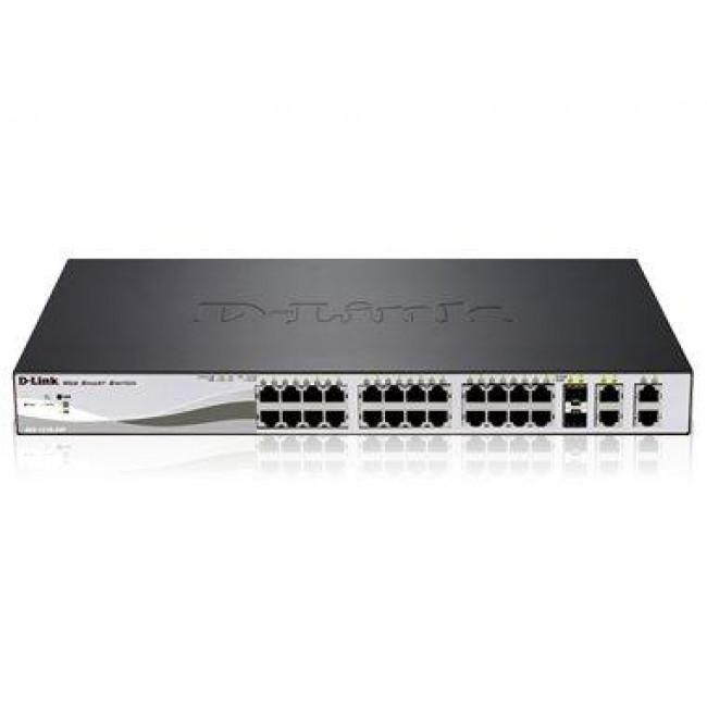 D-Link DES-1210-28P - 24-Port 10/100Mbps + 2x 1000BaseT & 2x 1000BaseT / SFP WebSmart Switch with PoE