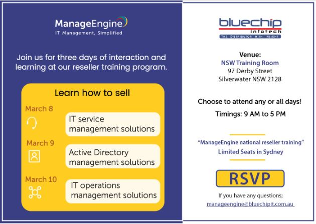 ManageEngine national reseller training! Limited seats in Sydney